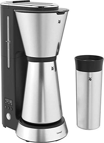 WMF Küchenminis Aroma Filterkaffeemaschine mit Thermoskanne, 870 Watt, Thermobecher to go, kleine Kaffeemaschine Timer, cromargan matt
