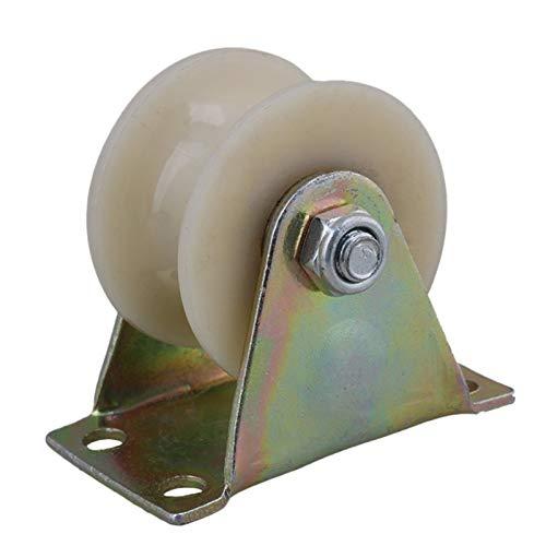 KISNAD Ruedas para Silla Oficina 2 unids 2 Pulgadas 45 mm Acero Nylon U Groove Roller Rueda rígida Rueda de Ruedas para máquinas industriales Carros 150kg