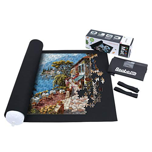 Becko Puzzle Mat Puzzle Mats for Jigsaw Puzzles Puzzle Mat Roll Up Puzzle Keeper Puzzle Storage with Drawstring Storage Bag for Up to 1500 Pieces