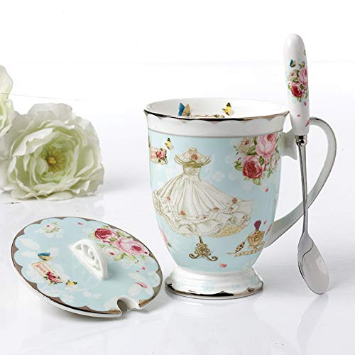 Fine Bone ChinaTea Cup with Lid and Spoon, Pastel Blue Vintage Coffee Mug Floral Design Royal Teacups with Gift Box Gift for Women Mom (Pastel Blue)
