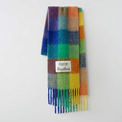 Schal Damen Unisex Color Check Gedruckter Quastenschal Winter Warmer Schal Schal Mode Übergroßer Schal Schal Geschenk Schal-Style_No.5_250-38Cm