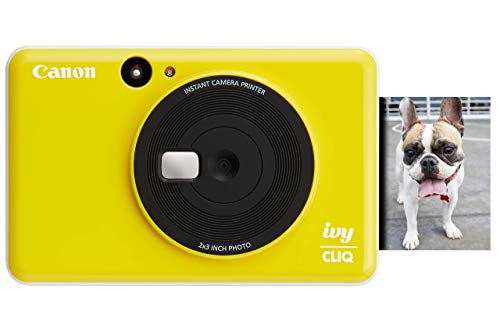 "Canon Ivy CLIQ Instant Camera Printer, Mini Photo Printer with 2""X3"" Sticky-Back Photo Paper(10 Sheets), Bumblebee Yellow"