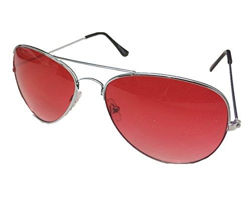 Unbekannt Pilotenbrille Sonnenbrille Fliegerbrille Pornobrille mit Federscharnier NICHT verspiegelt (Klar) (Altrosa Gläser/Silber Rahmen)