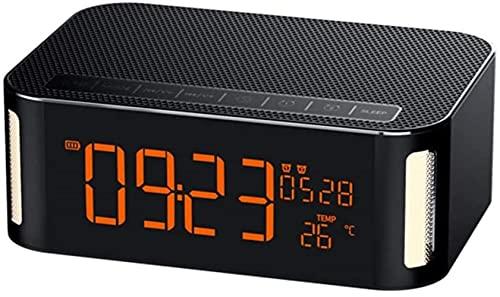 DFGBXCAW Altavoz de Reloj táctil, detección de Temperatura 4.2 Soporte de Bluetooth Hora Fecha Reloj Despertador Doble Modo de repetición Radio FM, Negro
