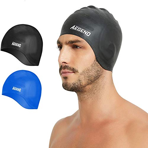 aegend 2 Pack Swimming Caps,Swim Caps Bathing Cap Solid Silicone Anti-Slip Swimming Hats With Ergonomic Ear Pockets to Cover Ears - Long Hair, Thick or Short for Adult Men Women Youth