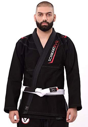 Schwarzbull Vitals,Brazilian jiu Jitsu(BJJ) Gi Kimono,100% algodón Tela con cinturón Blanco Gratis, (Negro, A1)