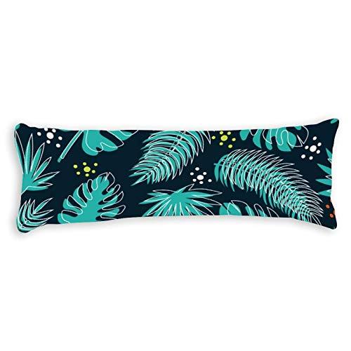 Funda de almohada corporal de algodón de 137 x 50 cm, con cremallera, diseño de plantas tropicales, funda de almohada decorativa floral para cama para niños para niños y niñas