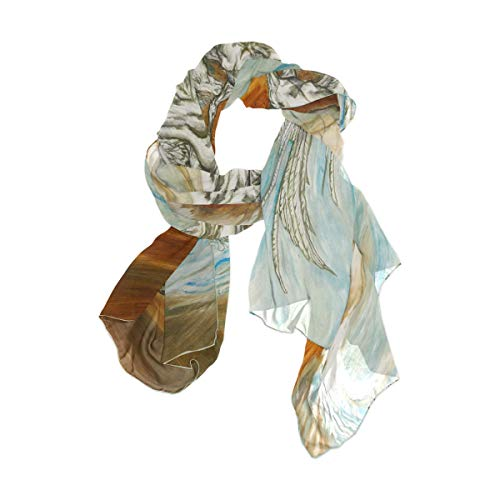 NaiiaN Bufanda de chal vintage 90x180 CM Envolturas de cabeza livianas Estampado Caballo Volando Ala para mujeres Niñas Señoras Favor Pañuelo cuadrado