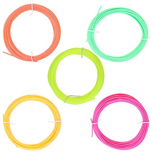 Balacoo ABS 3D Filamento Penna Stampante - Filo Stampato 3D 1. 75MM Filamento Stampante 3D Led a Bassa Temperatura (5 Colori Fluorescenti 5 Metri Arancione Rosso Rosa-Rosso Verde Giallo)