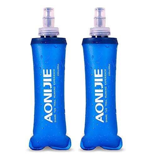 AoMagic BPA Free TPU Soft Folding Water Bottles Collapsible Flask for Hydration Pack, Best for Running, Cycling, Hiking, Camping, Outdoor Sports and Traveling (250ml/8.45oz - Pack of 2)
