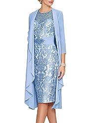 Snorkel Blue Echo Lace Dress With Rhinestone Belt & Chiffon Jacket