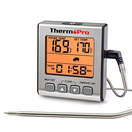 ThermoPro TP16S Thermomètre à Viande numérique précis pour fumoir, Cuisine, Barbecue, avec Mode minuterie et rétroéclairage