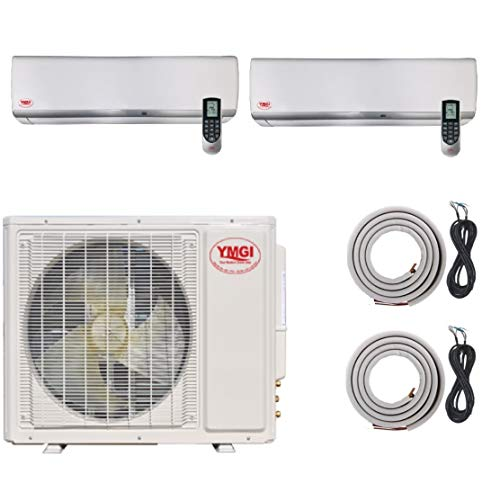 YMGI Two Zone Air Conditioner - 36000 BTU (18k+18k) 3 Ton 21 SEER Wall Mount Mini Split with Heat Pump 220V with 25 ft Installation Lineset