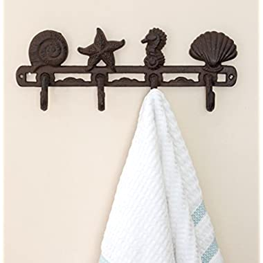 Vintage Seashell Coat Hook Hanger by Comfify | Rustic Cast Iron Wall Hanger w/4 Decorative Hooks | Includes Screws and Anchors | in Rust Brown | (Seashell Wall Hanger CA-1507-04)