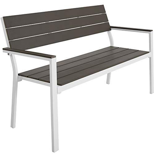 TecTake 800796 Gartenbank in Holzoptik, Sitzbank für Garten, Balkon und Terrasse, bis 250 kg belastbar, 2-Sitzer Parkbank, 128 x 59 x 88 cm - Diverse Farben - (Hellgrau-Weiß | Nr. 403547)