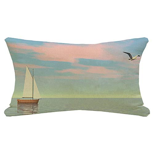Lumbar Pillow Cover 3D Small Landscape Ocean Sailboat Digital Floating On Quiet by Water Transportation Parks Outdoor Decorative Fall Linen Pillow Case for Couch Bed Car 12x20 Inch