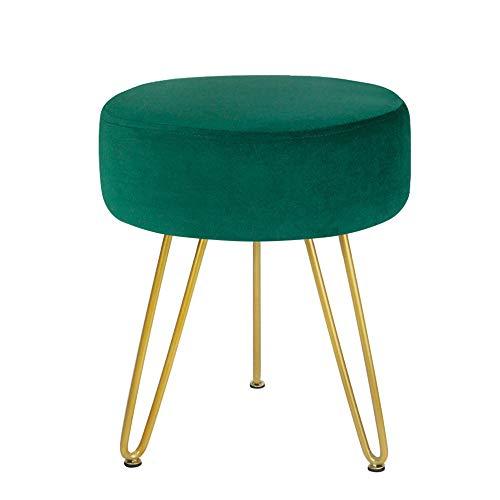 GRUNEN WOLKEN Round Velvet Footrest Stool Ottoman Modern Foot Stool with 3 Golden Metal Leg for Dressing Table Stool Shoes Bench in Living Room Bedroom Teal