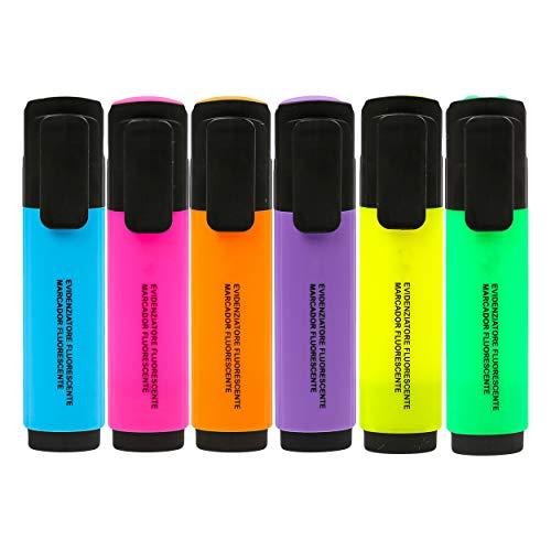 6 Subrayadores Color Fluorescente Marcadores Fluorescentes Multicolor Punta Biselada