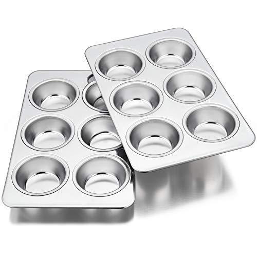 Homikit 2 Pack Muffin Tray, 6-Hole Muffin Tin Moulds Cupcake Baking Tray...