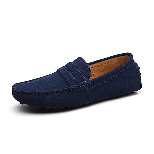 DUORO Herren Klassische Weiche Mokassin Echtes Leder Schuhe Loafers Wohnungen Fahren Halbschuhe, 46 EU, Dunkelblau