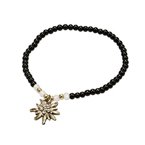 Alpenflüstern Filigran Perlen-Trachten-Armband Strass-Edelweiß - Damen-Trachtenschmuck mit antik-Gold-farbenem Edelweiss, elastische Trachten-Armkette, Perlenarmband schwarz DAB050