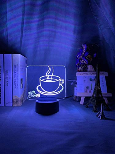 Acrylic 3D Optical LED Nightbye Coffee Mug Colorful Pattern Table Lamp for Store Cool Gadgets Office Home Decorative Light GMYXSW