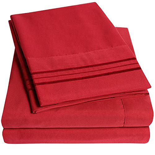 1500 Supreme Collection Bed Sheet Set - Extra Soft, Elastic Corner Straps, Deep Pockets, Wrinkle & Fade Resistant Hypoallergenic Sheets Set, Luxury Hotel Bedding, Full, Red