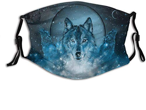 St patricks day gift for kids Wolf Printed Face Mask Decorative Adjustable With 2 Filters For Men And Women Balaclava Bandana Wolf in Blue face masks washable