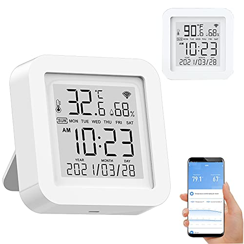 Smart WiFi Temperature Humidity Monitor: Wireless Temperature Humidity Sensor with TUYA APP Control, WiFi Thermometer Hygrometer for Home Pet Garage Humidor, Works with Alexa