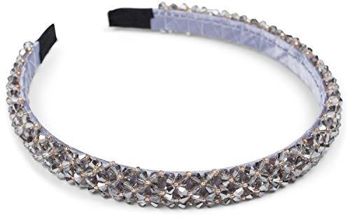 styleBREAKER Bandeau étroit pour dames avec perles en plastique, bandeau de style rétro, bandeau de tête 04027011, couleur:Gris