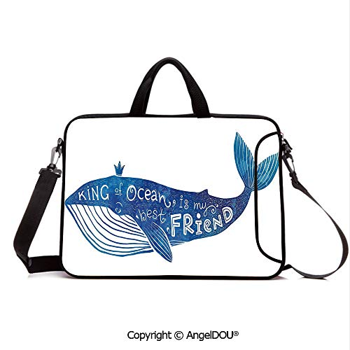 AngelDOU Laptop Sleeve Notebook Bag Case Messenger Shoulder Laptop Bag Kind of Ocean is My Best Friend Quote with Whale Fish Paintbrush Artsy Picture Compatible with MacBook HP Dell Lenovo Violet Bl