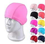 Yusylvia Multicolor Swimming Caps, Fashion Motif Pattern Swim Hat Bath Cap, for Adult Older Boys and Girls,Pack of 5 Pieces (Random Style) (Pure Color)