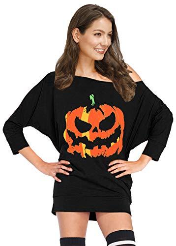 For G and PL Damen Halloween Kostüm Lustige Schulterfrei 3/4 Arm Tunika Gr. XX-Large, Jack-o-laterne schwarz