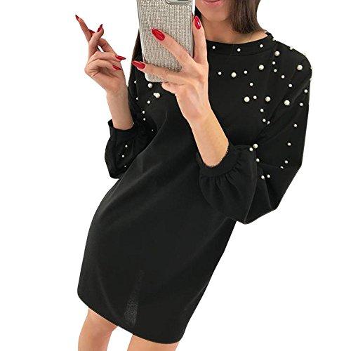 Overdose Vestido para Las Mujeres Casual Vacaciones O-Cuello SóLido Abalorios Manga Larga Linda Rebordear SeñOras Suelta Fiesta Noche Mini Vestidos Sexy