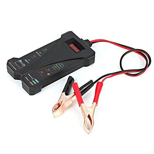 Qiilu Detector de batería, Detector de batería de coche Pantalla digital 12V LED Probador de batería Analizador Herramienta de diagnóstico
