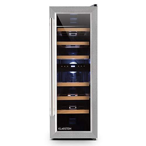 Klarstein Reserva Duett 12 - Wneinkühlschrank, Getränkekühlschrank, Weinklimaschrank, Platz für 21 Normflaschen, 2 Programmierbare Kühlzonen, LED-Innenraumbeleuchtung, 6 Regaleischübe, hellsilber
