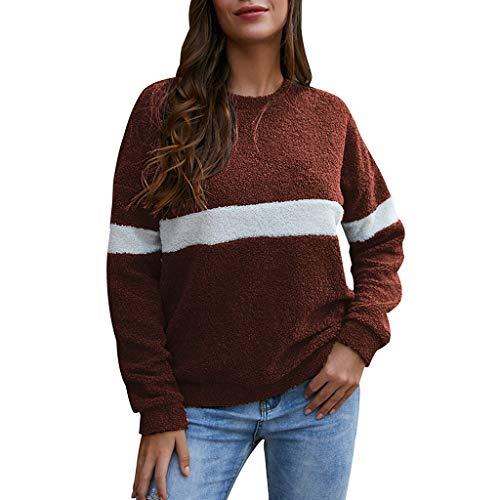 Pullover Damen KIMODO Langarm Fleece Rundhals Sweatshirt Patchwork warme Winter Casual Tumblr Tops Bluse lose Fashion Sweater Oberteile