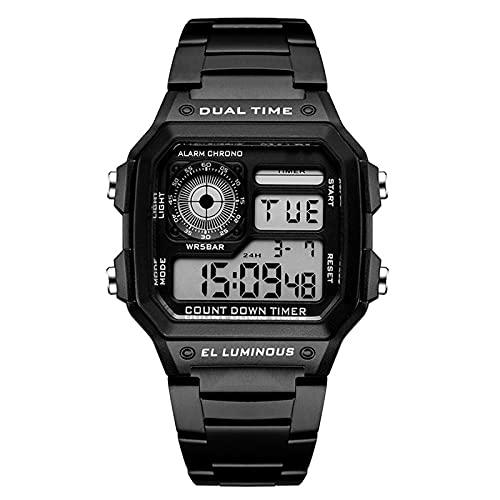WNGJ Relojes Deportivos para Hombres Doble Pantalla Digital Reloj de Pulsera electrónica Impermeable con Relojes Militares con Reloj Militar Multifuncional, Deportes diar Black