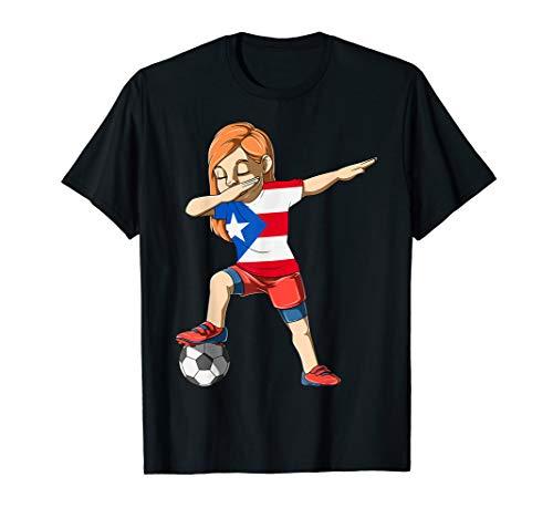 Dabbing Soccer Girl Puerto Rico Jersey Puerto Rican T-Shirt