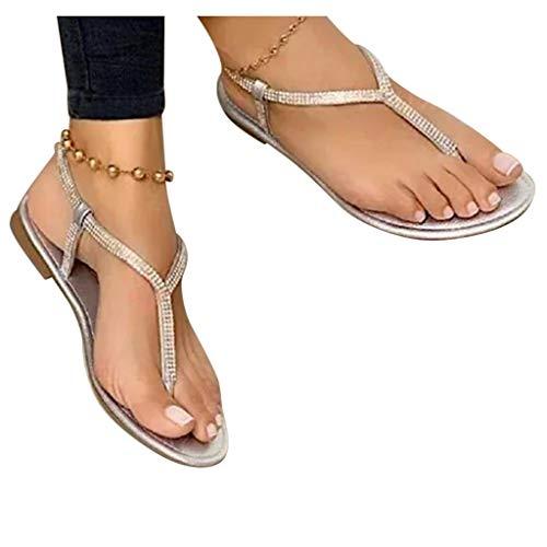 koperras Sandalen Damen Zehentrenner Sandals Flip Flops Leichtgewicht Atmungsaktive Flache Schuhe+Frauen Schaftsandalen Elegant Strass Cross Hausschuhe Strandschuhe Sommerschuhe Sandaletten