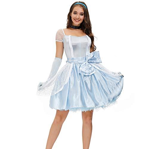Disfraz de princesa sexy para mujer, de Belle Cenicienta, cosplay, Halloween, Navidad, carnaval, disfraz de 4 piezas de lencería