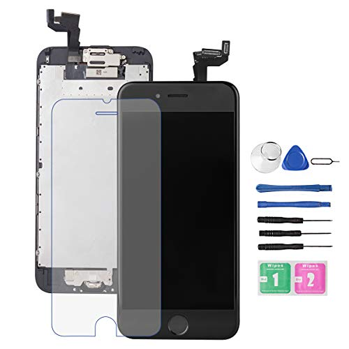 for iPhone 6S Screen Replacement Black, Drscreen LCD Touch Digitizer Complete Display for A1633, A1688, A1700,with Home Button Proximity Sensor Ear Speaker Front Camera Screen Protector + Repair Tool