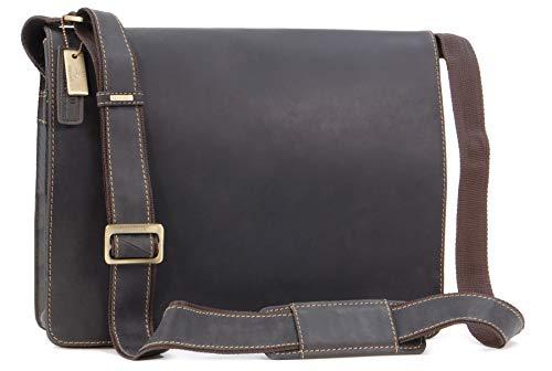 VISCONTI - Messenger Bag - Men's Leather Messenger Bag/Shoulder Bag - Laptop Compatible for Business/Office/Work Bag - 18548 - Harvard - Oil Brown