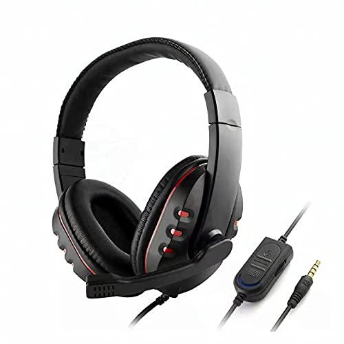 XCascos Gaming, Auriculares Gaming Ligeros para Juegos para PC, Mac, Xbox One, PS4 y Switch, Negro y Rojo