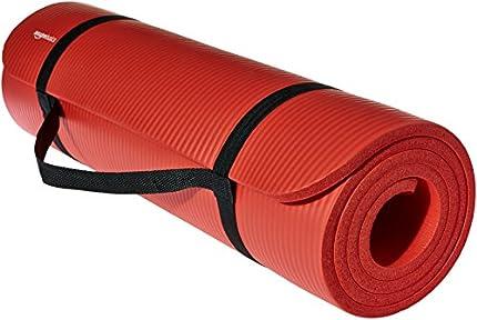 """AmazonBasics–alfombra de ejercicio y yoga con correa de 0,50"""", color rojo"""