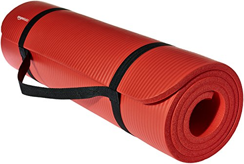 Amazon Basics Extra Thick Exercise Yoga Gym Floor Mat with Carrying Strap - 74 x 24 x .5 Inches, Red