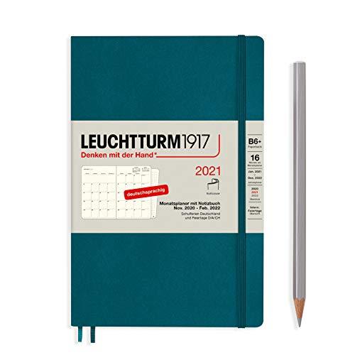 LEUCHTTURM1917 362122 Monatsplaner Paperback (B6+) Softcover, 16 Monate, Pacific Green, Deutsch