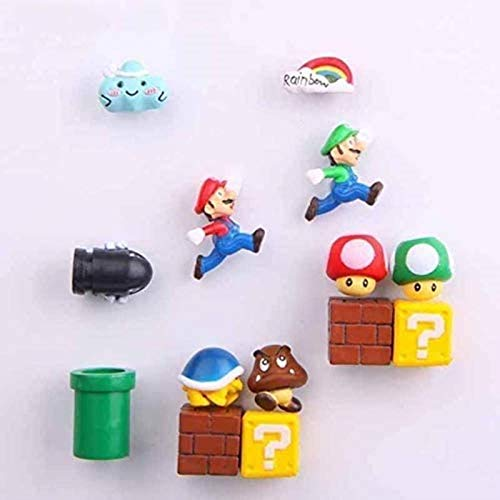 LM-PNEG 3D Super Mario Bros. Fridge Magnets Refrigerator Message Sticker Funny Girls Boys Kids Children Student Toys Birthday,34 Combinations-14 Combinations