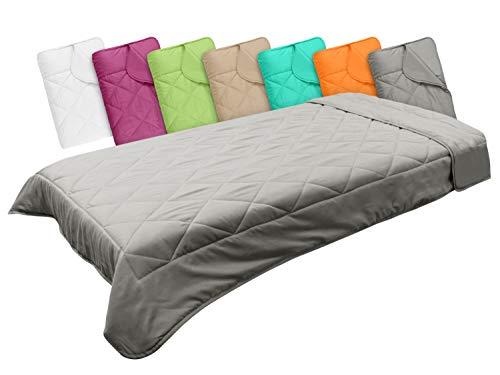 npluseins Leichtsteppbett in 3 Größen und in 7 modernen Farben, ca. 135 x 200 cm, grau