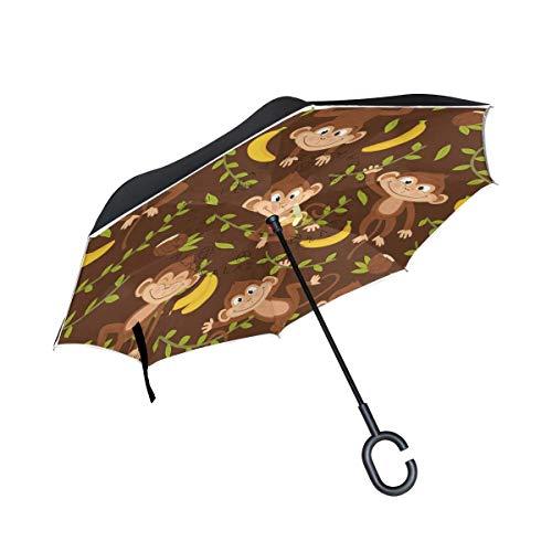Rode voor regen buitenshuis met C-vormige handgreep winddichte parapludieren Monkey Reverse Double Layer Inverted Double